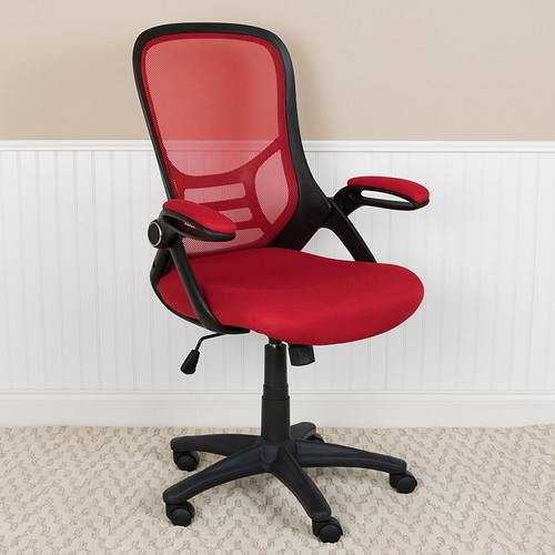 Contemporary Executive Office Chair with Flip-Up Arms