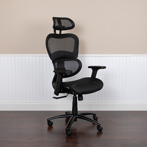 Contemporary Executive Office Chair with Pivot and Height Adjustable Headrest