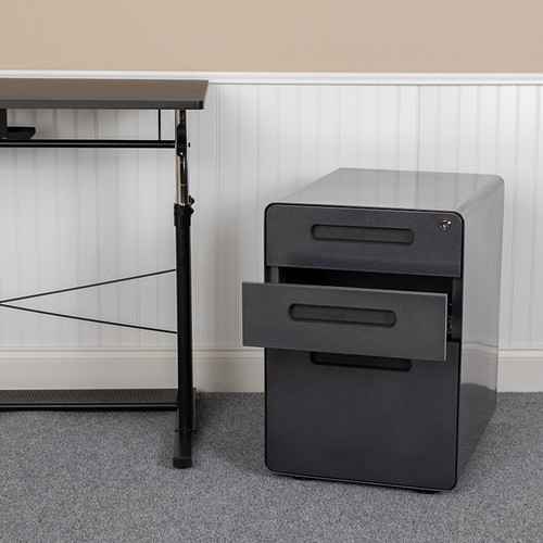 Modern Black 3-Drawer Filing Cabinet - Ergonomic Mobile Design