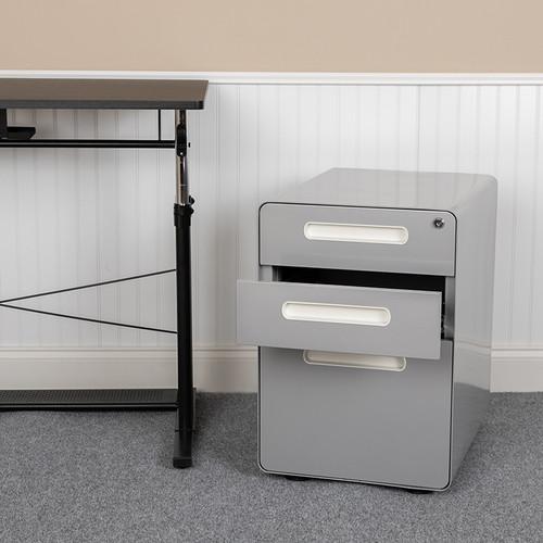 Modern Gray 3-Drawer Filing Cabinet - Ergonomic Mobile Design