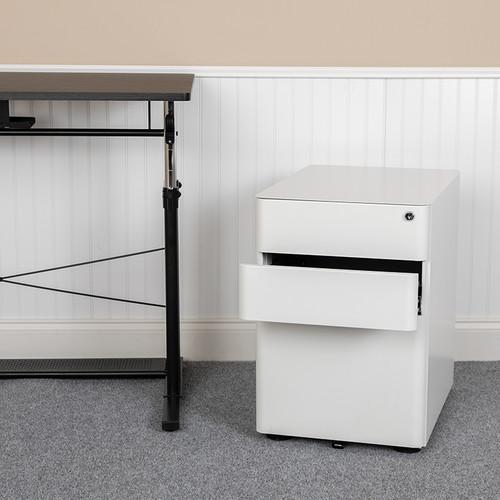Modern White 3-Drawer Filing Cabinet - Ergonomic Mobile Design