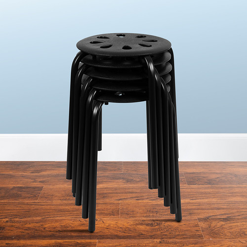 Set of 5 Plastic Stack Stools for flexible seating