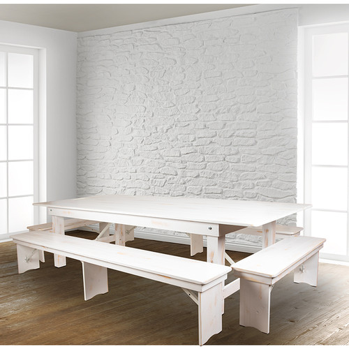 Farmhouse Dining Table Set in Antique Rustic White Stain Finish