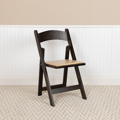 Wood Folding Chair with Open Back Design for Indoor or Outdoor Events