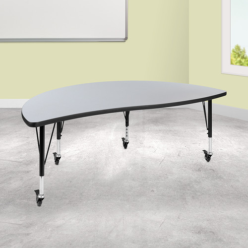 Half Circle Collaborative Wave Activity Table with long-lasting Scratch and Stain Resistant Top