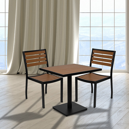 Outdoor Faux Teak Table and Chair Set with Dining for 2