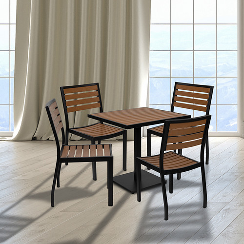 Outdoor Faux Teak Table and Chair Set with Dining for 4