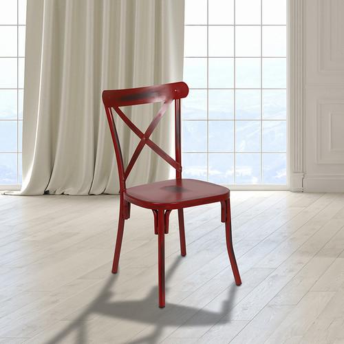 Indoor Metal Cross Back Dining Chair