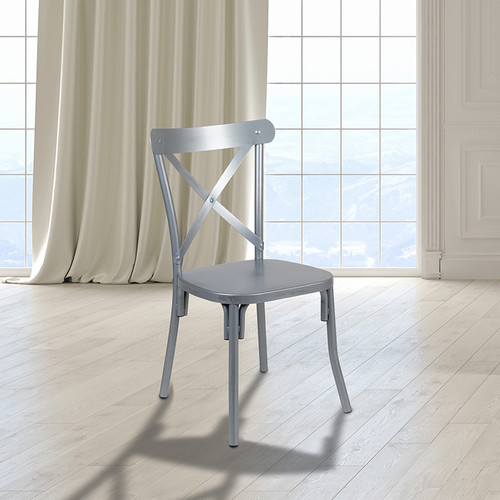 Indoor Metal Cross Back Dining Chair