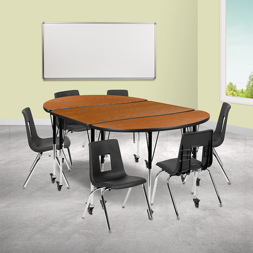 9 Piece Collaborative Wave Activity Table Set with Stack Chairs