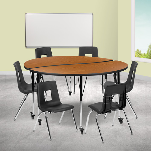 8 Piece Collaborative Wave Activity Table Set with Stack Chairs