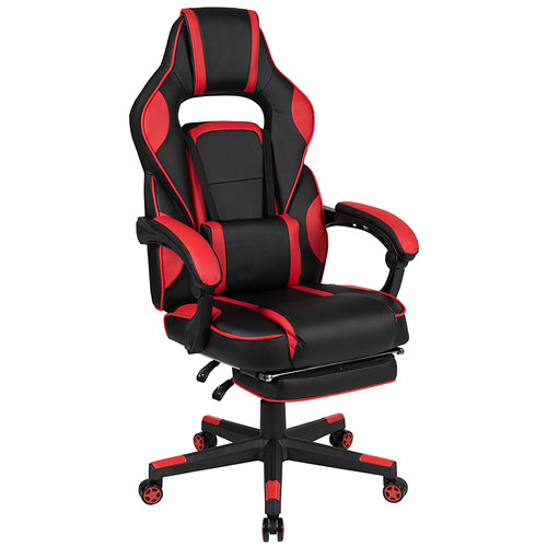 X40 Gaming Chair Racing Ergonomic Computer Chair with Fully Reclining Back/Arms, Slide-Out Footrest, Massaging Lumbar - Red