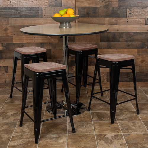 "24"" High Metal Counter-Height, Indoor Bar Stool with Wood Seat in Black - Stackable Set of 4 [4-ET-31320W-24-BK-R-GG]"
