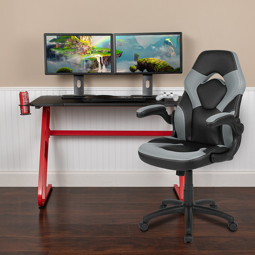 Red Gaming Desk and Gray/Black Racing Chair Set with Cup Holder and Headphone Hook [BLN-X10RSG1030-GY-GG]