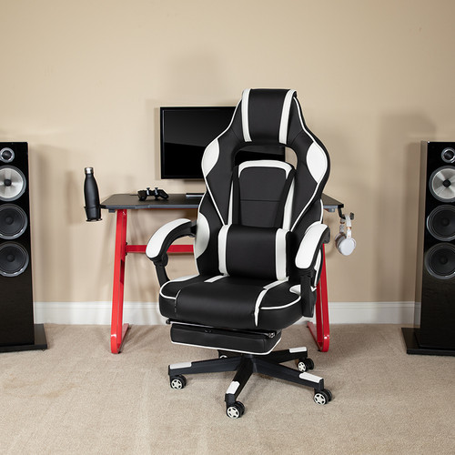 Red Gaming Desk with Cup Holder/Headphone Hook & White Reclining Back/Arms Gaming Chair with Footrest [BLN-X40RSG1030-WH-GG]