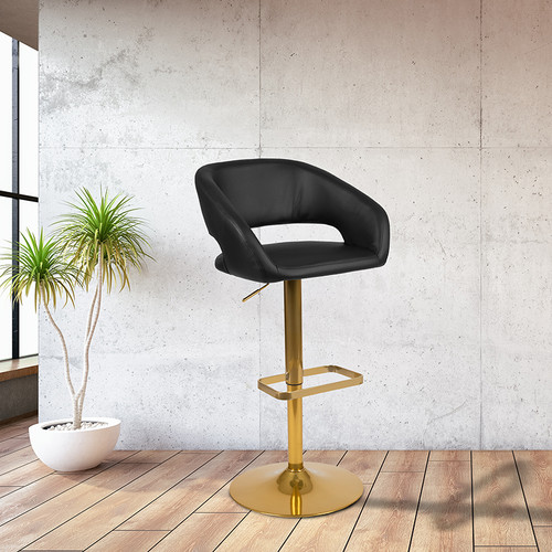 Contemporary Black Vinyl Adjustable Height Barstool with Rounded Mid-Back and Gold Base [CH-122070-BK-G-GG]