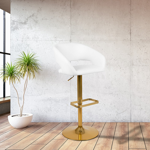 Contemporary White Vinyl Adjustable Height Barstool with Rounded Mid-Back and Gold Base [CH-122070-WH-G-GG]