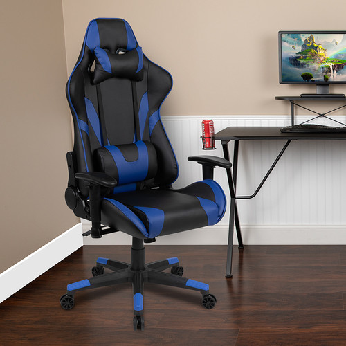 BlackArc X20 Gaming Chair Racing Office Ergonomic Computer PC Adjustable Swivel Chair with Reclining Back in Blue LeatherSoft [CH-187230-1-BL-GG]
