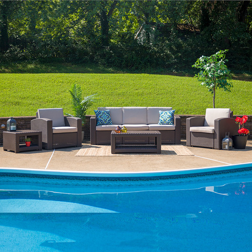 5 Piece Outdoor Faux Rattan Chair, Sofa and Table Set in Chocolate Brown [DAD-SF-113RS-CBN-GG]