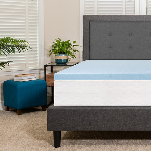 Capri Comfortable Sleep 2 inch Cool Gel Memory Foam Mattress Topper - Queen [MR-M35-2-Q-GG]