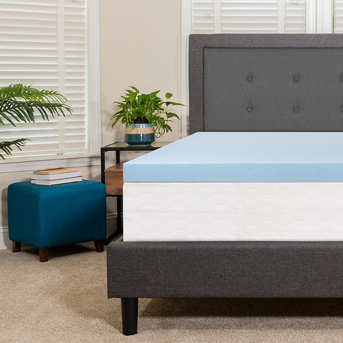 Capri Comfortable Sleep 3 inch Cool Gel Memory Foam Mattress Topper - Queen [MR-M35-3-Q-GG]