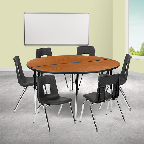 "60"" Circle Wave Collaborative Laminate Activity Table Set with 16"" Student Stack Chairs, Oak/Black [XU-GRP-16CH-A60-HCIRC-OAK-T-A-GG]"