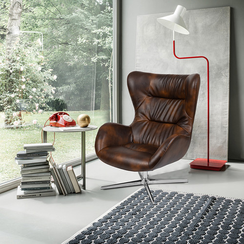 Bomber Jacket LeatherSoft Swivel Wing Chair [ZB-WING-BOMB-GG]