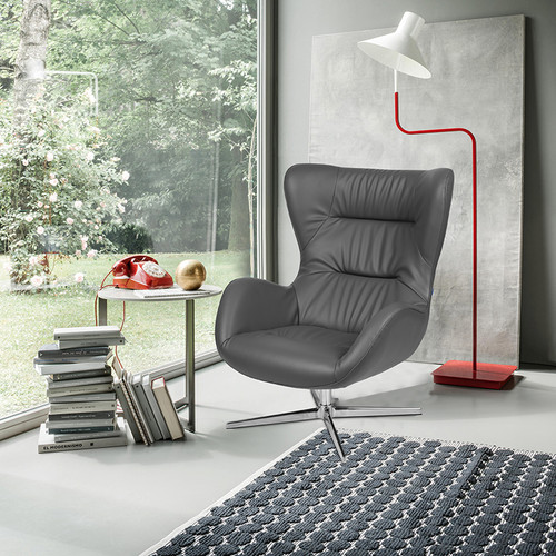 Gray LeatherSoft Swivel Wing Chair [ZB-WING-GY-LEA-GG]