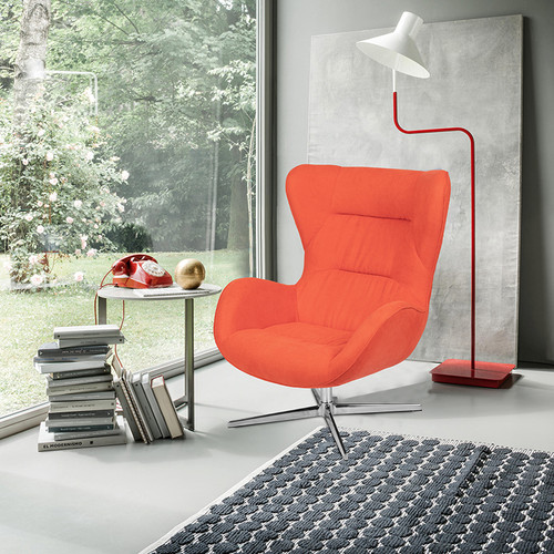 Orange Fabric Swivel Wing Chair [ZB-WING-ORG-FAB-GG]