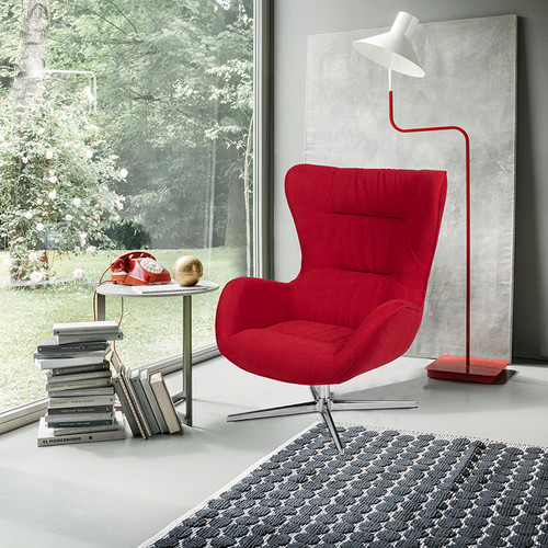 Red Fabric Swivel Wing Chair [ZB-WING-RED-FAB-GG]