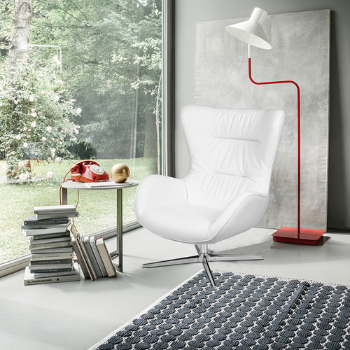 White LeatherSoft Swivel Wing Chair [ZB-WING-WH-LEA-GG]