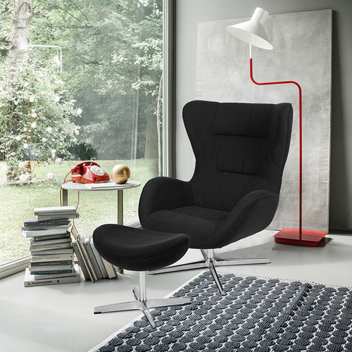 Black Fabric Swivel Wing Chair and Ottoman Set [ZB-WING-CH-OT-BK-FAB-GG]