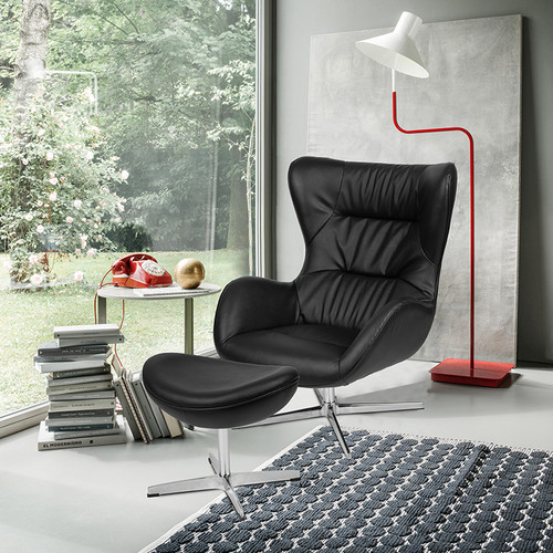 Black LeatherSoft Swivel Wing Chair and Ottoman Set [ZB-WING-CH-OT-BK-LEA-GG]