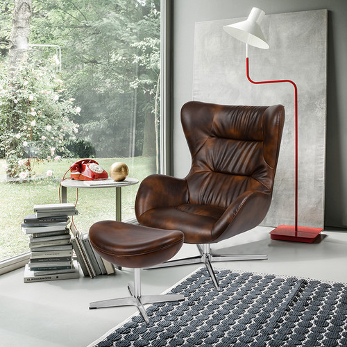Bomber Jacket LeatherSoft Swivel Wing Chair and Ottoman Set [ZB-WING-CH-OT-BOMB-GG]