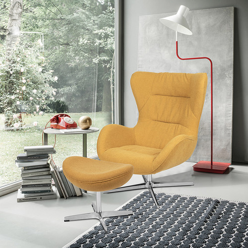 Citron Fabric Swivel Wing Chair and Ottoman Set [ZB-WING-CH-OT-CIT-FAB-GG]