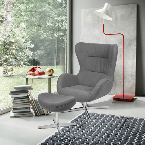 Gray Fabric Swivel Wing Chair and Ottoman Set [ZB-WING-CH-OT-GR-FAB-GG]