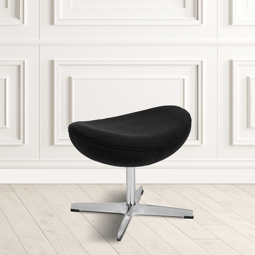 Black Fabric Saddle Wing Ottoman [ZB-WING-BK-OTT-FAB-GG]
