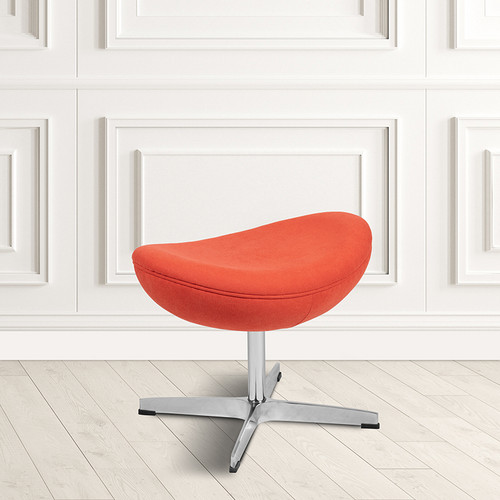 Orange Fabric Saddle Wing Ottoman [ZB-WING-ORG-OTT-FAB-GG]