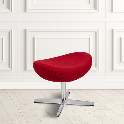Red Fabric Saddle Wing Ottoman [ZB-WING-RED-OTT-FAB-GG]