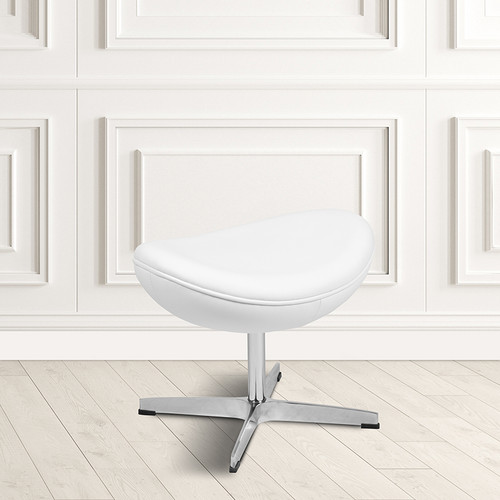 White LeatherSoft Saddle Wing Ottoman [ZB-WING-WH-OTT-LEA-GG]