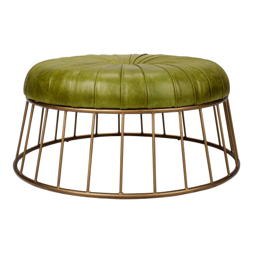 RADCLIFFE LEATHER OTTOMAN GREEN