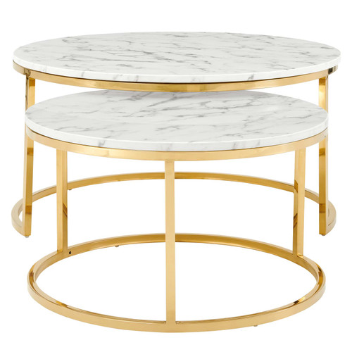 Ravenna Artificial Marble Nesting Coffee Table