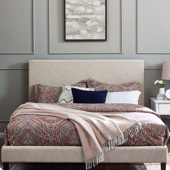 Taylor King and California King Upholstered Linen Fabric Headboard Beige MOD-5883-BEI
