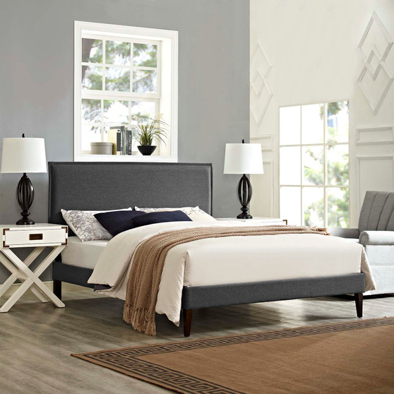 Amaris Queen Fabric Platform Bed with Squared Tapered Legs Gray MOD-5908-GRY