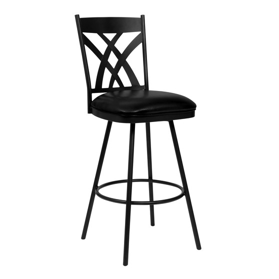 """Dover 30"""" Bar Height Barstool in Matte Black Finish and Black Faux Leather"""