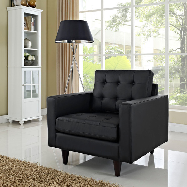 Empress Bonded Leather Armchair Black EEI-1012-BLK