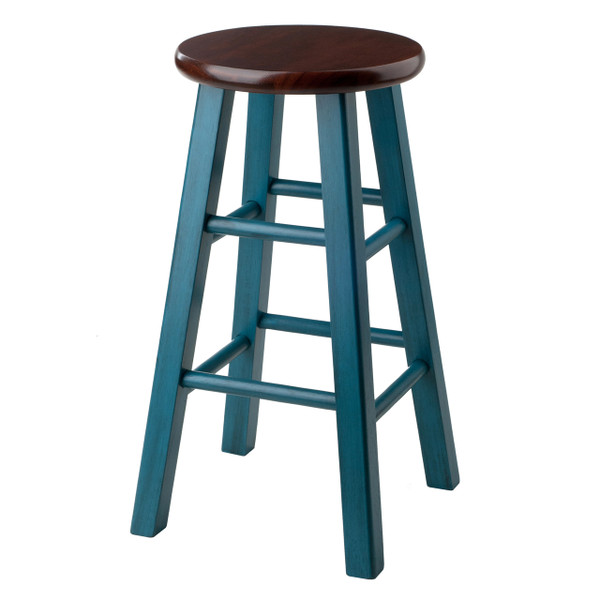 "Ivy 24"" Counter Stool Rustic Teal w/ Walnut Seat"