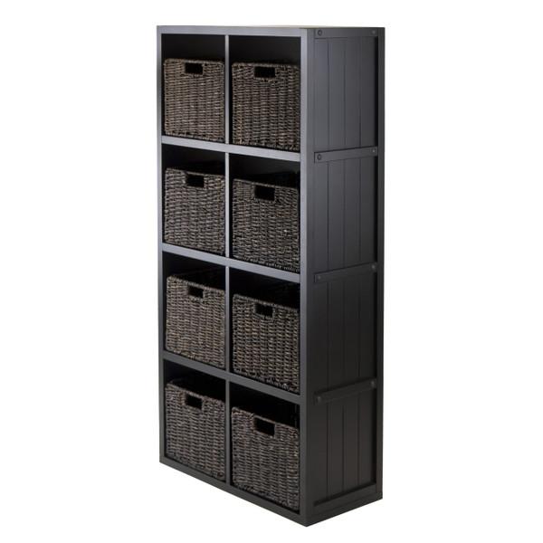 9-Pc Wainscoting Panel Shelf 4 x 2 Slots with 8 Baskets