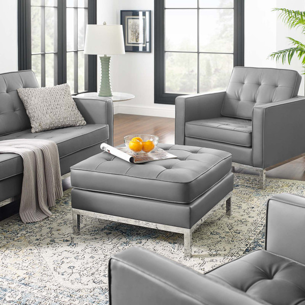 Loft Tufted Upholstered Faux Leather Ottoman Silver Gray EEI-3394-SLV-GRY