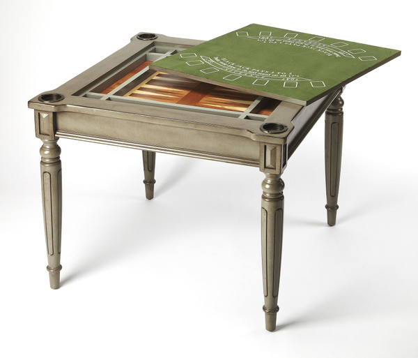 Butler Vincent Silver Satin Multi Game Table